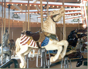 Image: One of two flag horses on Shelby's carrousel.